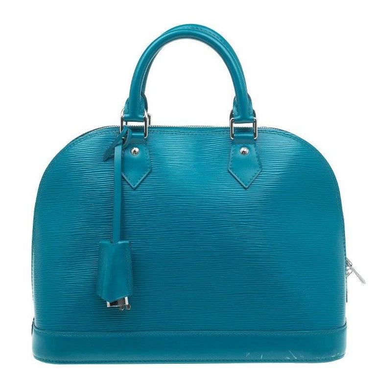 37fddd3a3392 Louis Vuitton Cyan Epi Leather Alma PM Bag at 1stdibs