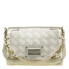 Versace Gold Embossed Leather Flap Shoulder Bag