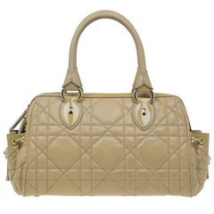 Dior Beige Cannage Quilted Leather Satchel