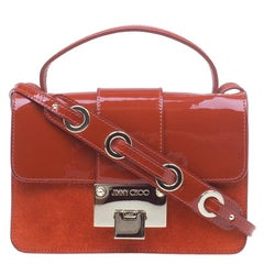 Jimmy Choo Red Patent Leather and Suede Rebel Crossbody Bag