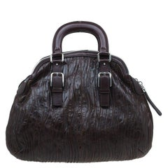 Dolce and Gabbana Brown Pleated Leather Miss Bauletto Dome Satchel