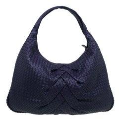 Bottega Veneta Purple Intrecciato Leather Maxi Pleated Veneta Hobo Bag