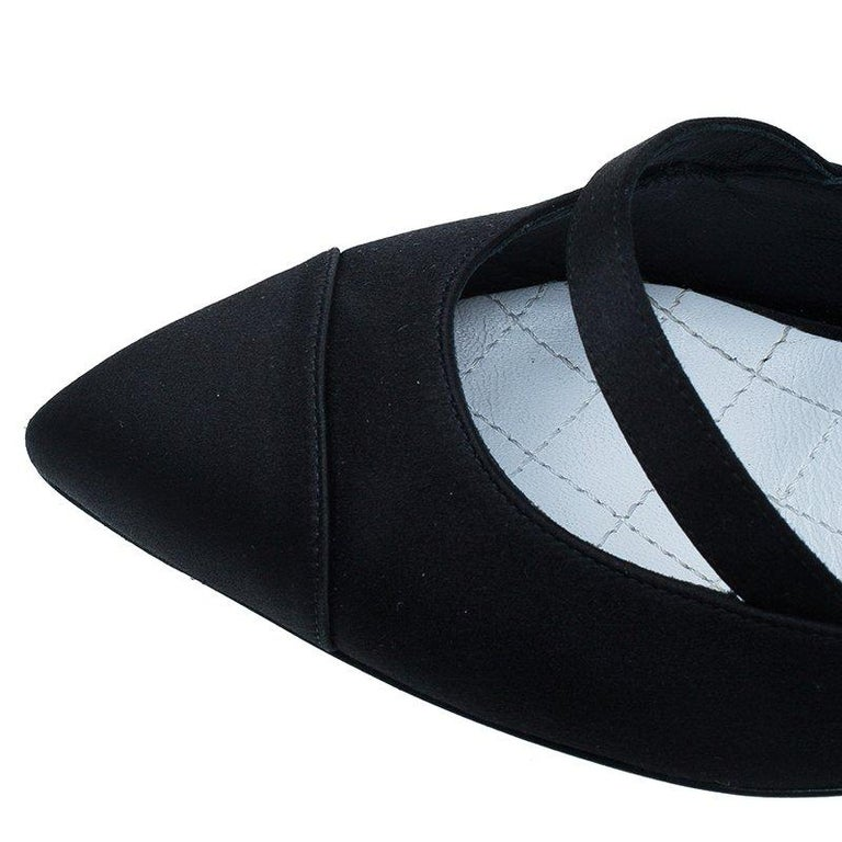 1f1a8badf40 Chanel Black Satin and Lace Bow Detail Mary Jane Pumps Size 39 For Sale 5