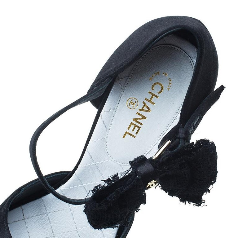 b1691e38b07 Chanel Black Satin and Lace Bow Detail Mary Jane Pumps Size 39 For Sale 3