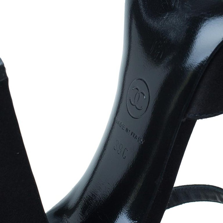 9891fc86f7f Chanel Black Satin and Lace Bow Detail Mary Jane Pumps Size 39 For Sale 4