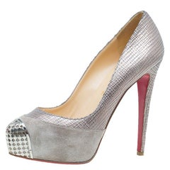 Christian Louboutin Grey Suede and Leather Maggie Platform Pumps Size 39