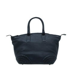 Bottega Veneta Black Nappa Intrecciato Leather Small Tote Bag