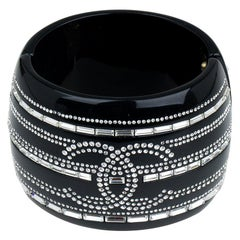 Chanel CC Crystals Black Resin Bangle Bracelet