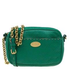 Fendi Green Leather Selleria Leather Small Crossbody Bag