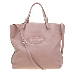 Tod's Blush Pink Leather Large Toronto Shopper Tote