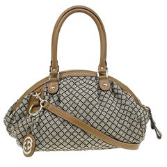 Gucci Beige/Ebony Diamante Canvas Medium Sukey Boston Bag