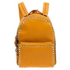Valentino Yellow Leather Medium Rockstud Backpack