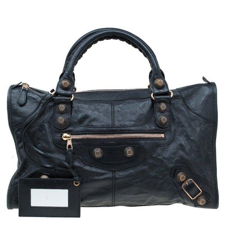 Balenciaga Black Lambskin Leather Giant 21 Rose Gold Hardware Work Bag For