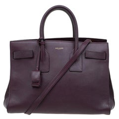 Saint Laurent Paris Burgundy Leather Small Classic Sac De Jour Tote