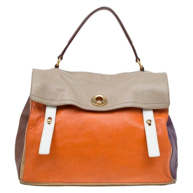 6750c3a0846b Saint Laurent Paris Tri Color Leather Large Muse Two Top Handle Bag For Sale
