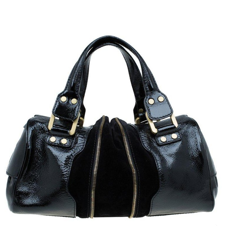 Jimmy Choo Black Patent Leather and Suede Marla Satchel