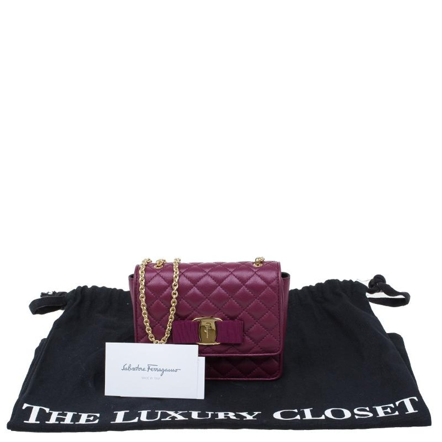 24c2b771f9 Salvatore Ferragamo Burgundy Quilted Leather Ginny Shoulder Bag at 1stdibs