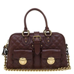 Marc Jacobs Burgundy Quilted Leather Venetia Satchel