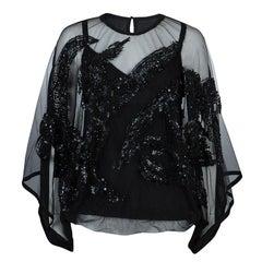 Elie Saab Black Mesh Overlay Sequin Embellished Top M