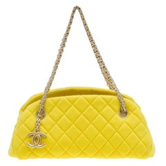 Chanel Yellow Quilted Jersey Small Just Mademoiselle Bowling Bag