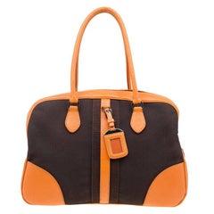 Prada Bi Color Leather and Canvas Bowling Bag