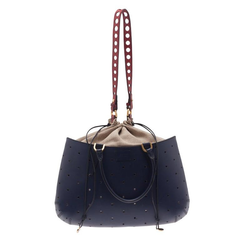 Fendi Blue Perforated Leather B Fab Bag For Sale at 1stdibs 066a78ae8a