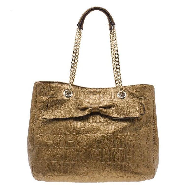 Carolina Herrera Gold Monogram Leather Audrey Tote Bag For
