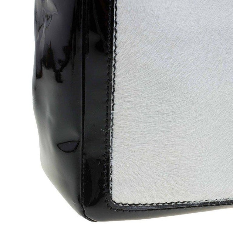 30a5bad85bb07b Chanel Black/White Pony Hair Patent Leather Runway Tote For Sale 1