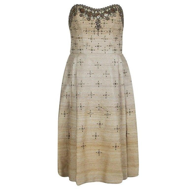 Carolina Herrera Beige Ombre Raw Silk Embellished Strapless Dress M For Sale