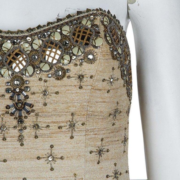 Carolina Herrera Beige Ombre Raw Silk Embellished Strapless Dress M For Sale 1