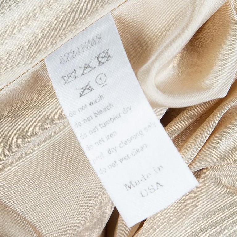 Carolina Herrera Beige Ombre Raw Silk Embellished Strapless Dress M For Sale 3