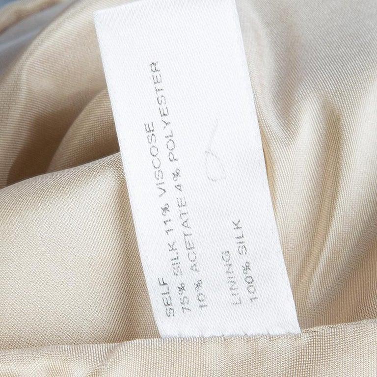Carolina Herrera Beige Ombre Raw Silk Embellished Strapless Dress M For Sale 7
