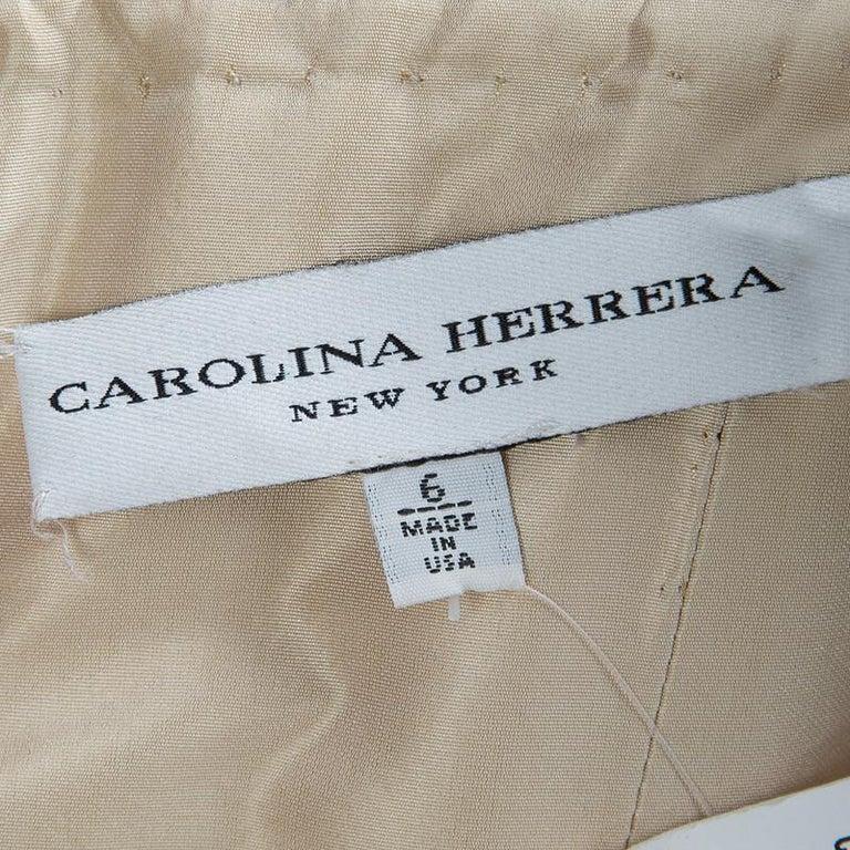 Carolina Herrera Beige Ombre Raw Silk Embellished Strapless Dress M For Sale 2