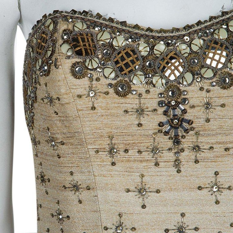 Carolina Herrera Beige Ombre Raw Silk Embellished Strapless Dress M For Sale 6