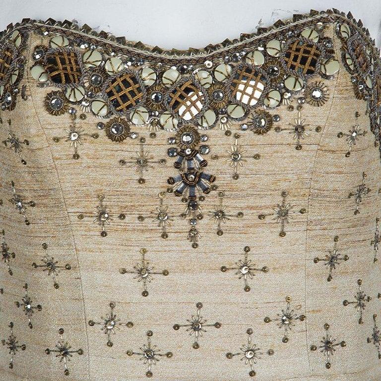 Carolina Herrera Beige Ombre Raw Silk Embellished Strapless Dress M For Sale 8