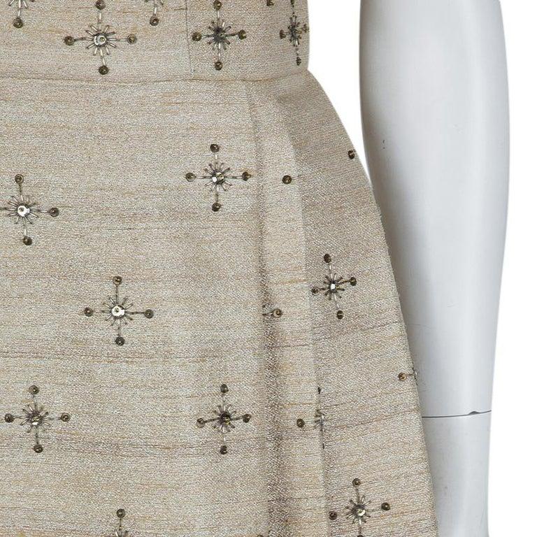 Carolina Herrera Beige Ombre Raw Silk Embellished Strapless Dress M For Sale 4