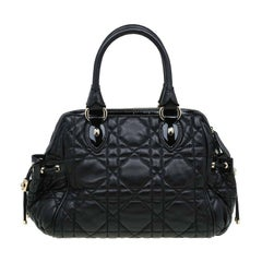 Dior Black Cannage Quilted Leather Satchel