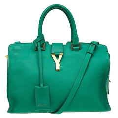 Saint Laurent Paris Green Leather Small Ligne Y Cabas Tote