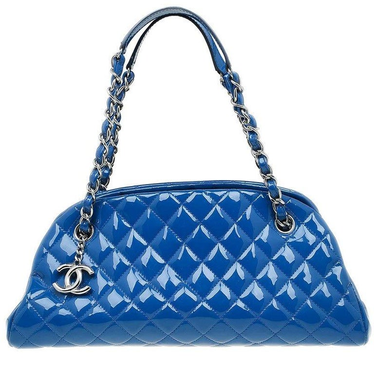 24a8531d4f2829 Chanel Blue Quilted Patent Medium Just Mademoiselle Bowling Bag For Sale
