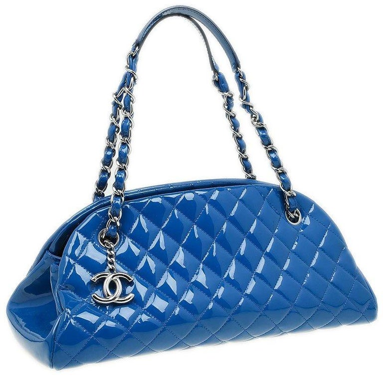 fba4866ad684bc Chanel Blue Quilted Patent Medium Just Mademoiselle Bowling Bag For Sale 5