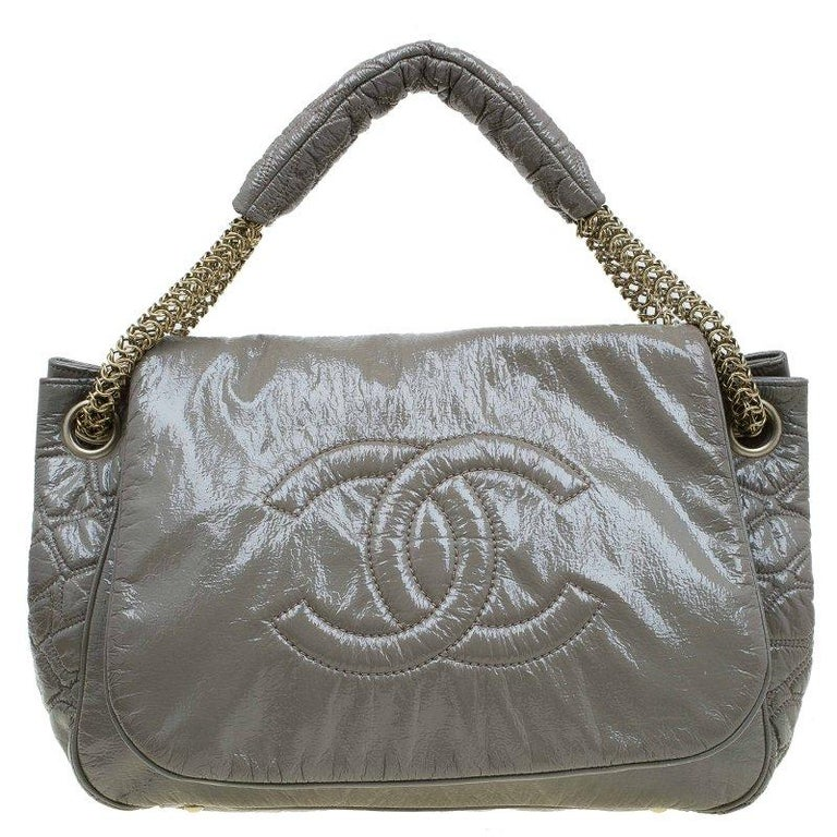 6b539c34b105 Chanel Olive Green Patent Leather Rock and Chain Accordion Flap Bag For Sale