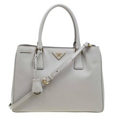 Prada Light Green Saffiano Lux Leather Small Tote