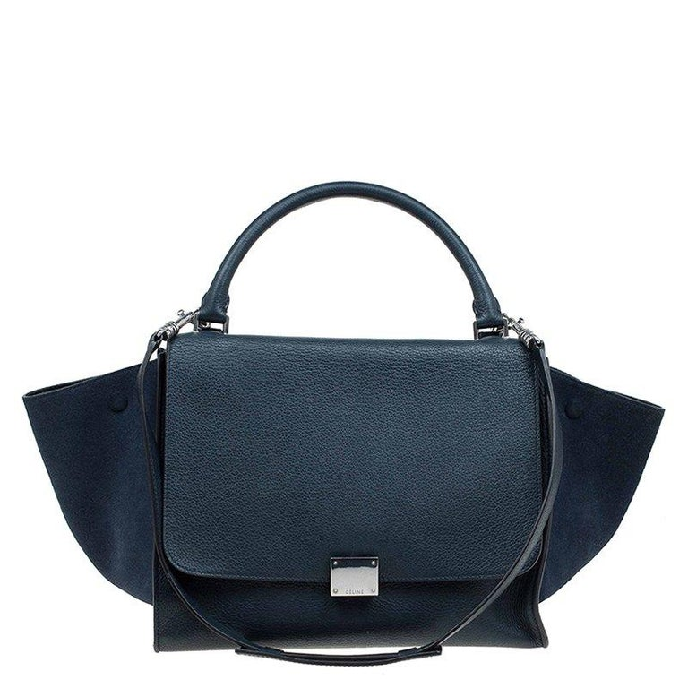 65476e9d4ecd Celine Navy Blue Leather and Suede Medium Trapeze Bag For Sale at ...