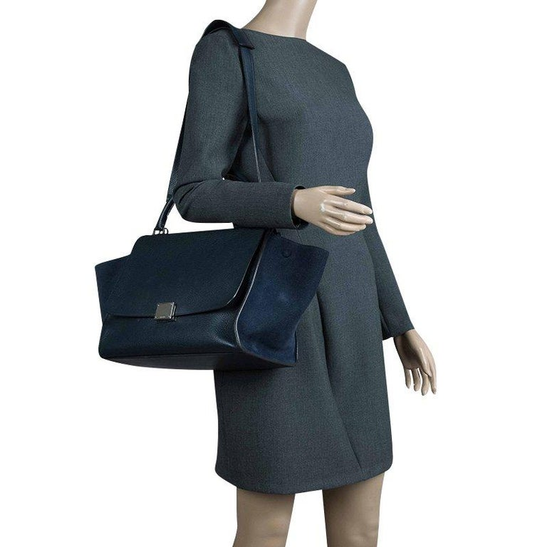 Black Celine Navy Blue Leather and Suede Medium Trapeze Bag For Sale