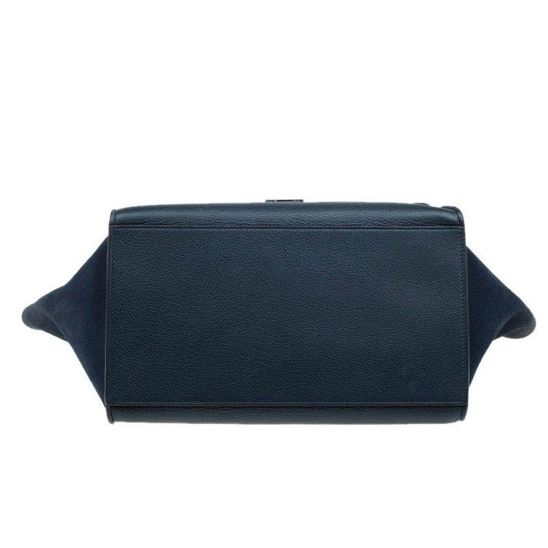Celine Navy Blue Leather and Suede Medium Trapeze Bag For Sale 1