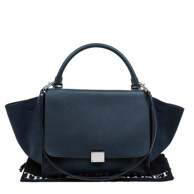 Celine Navy Blue Leather and Suede Medium Trapeze Bag For Sale 3