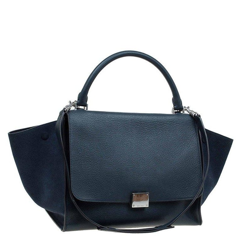 Celine Navy Blue Leather and Suede Medium Trapeze Bag For Sale 4