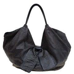 Valentino Black Nappa Leather Studded Folie Bow Hobo