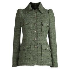 Chanel Olive Green Textured Tweed Jacket S