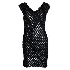 Roberto Cavalli Black Sequin Embellished Sleeveless Silk Dress M
